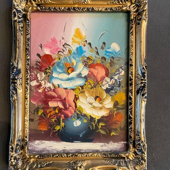 Vintage original oil painting on board floral